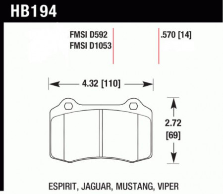 Hawk HB194 .570Z (Performance Ceramic) Jaguar/ Lotus