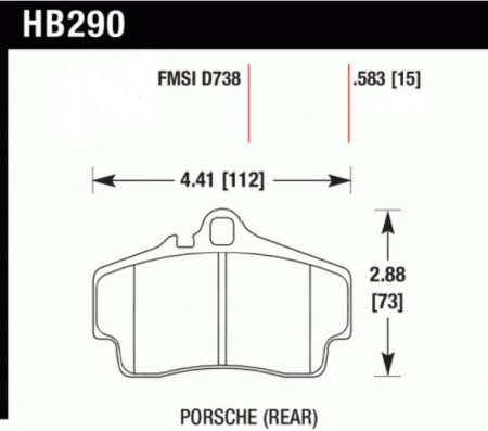 Hawk HB290 .583N (HP+) Porsche (Rear)