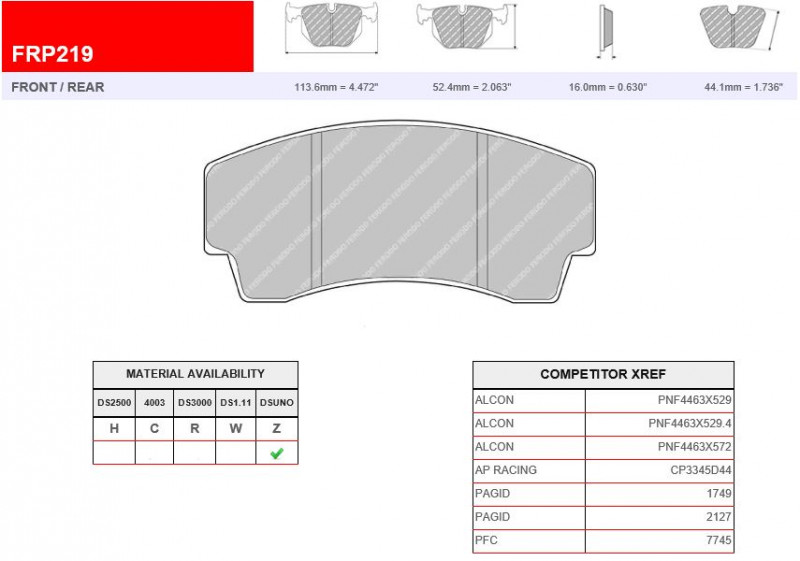 Ferodo Front Competition DS3000 Track FRP216R Race  Brake Pad Set